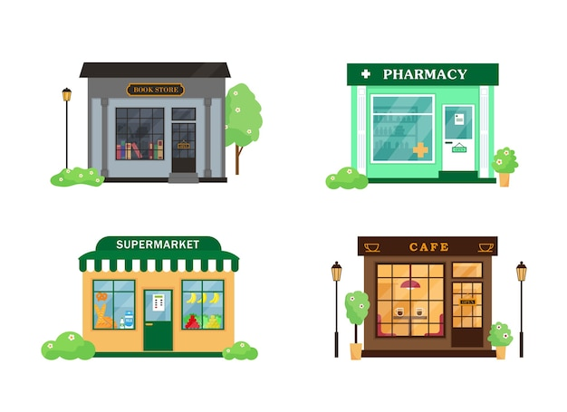 Zestaw budynków miejskich. księgarnia, kawiarnia, apteka i supermarket.