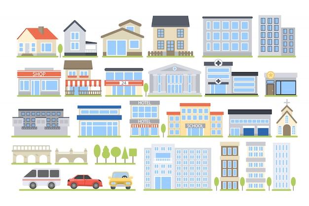 Zestaw budynków miejskich. szpital i szkoła, sklep i dom.