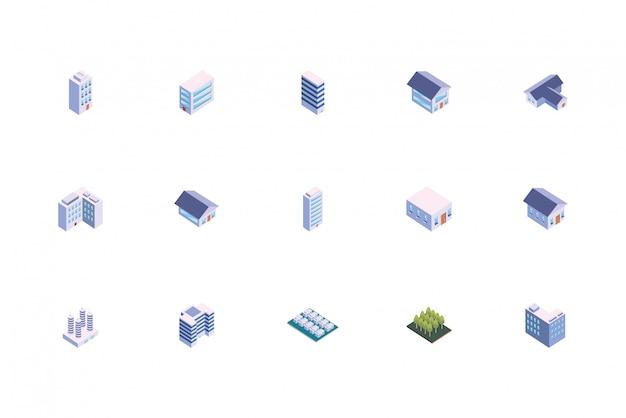 Zestaw budynków na białym tle izometryczny białe miasto