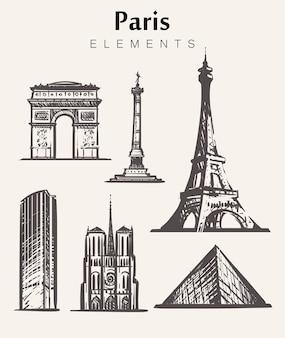 Zestaw budynków paryża rysowane ręcznie. ilustracja szkic elementów paryża. wieża eiffla łuk triumfalny, notre dame, place de la bastille, wieża montparnasse.