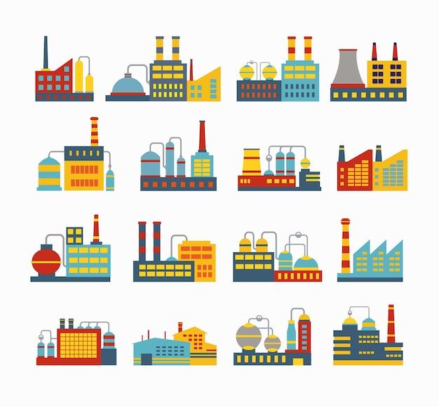 Zestaw budynków przemysłowych wektor. budynek kotłowni. budowanie mocy. budynek magazynów. budowa fabryk. budynek podstacji. budynki miejskie budynki przemysłowe.