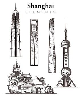 Zestaw budynków szanghaju na białym tle