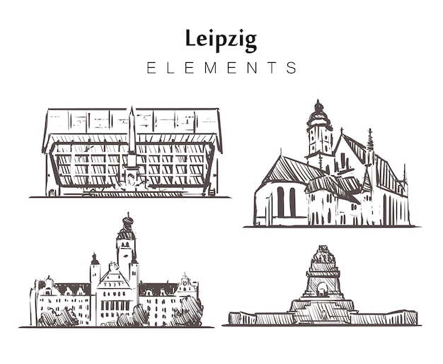 Zestaw budynków w lipsku rysowane ręcznie