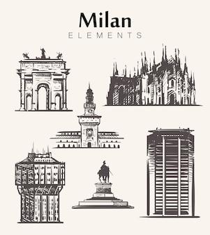 Zestaw budynków w mediolanie rysowane ręcznie. ilustracja szkic elementów mediolanu wieża velasca, katedra w mediolanie, zamek sforza, wieżowiec pirelli.