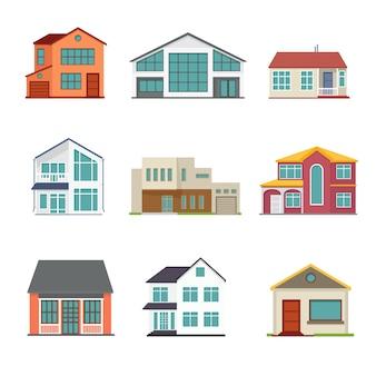 Zestaw budynku domku w stylu płaskiej