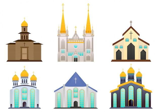 Zestaw budynku kościoła chrześcijańskiego, katolickiego lub katedr.