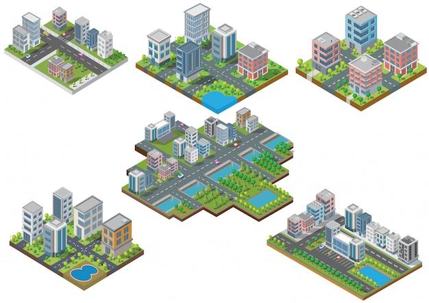 Zestaw budynku miasta izometryczny