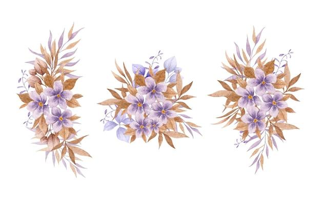 Zestaw bukiet kwiatów i liści na białym tle