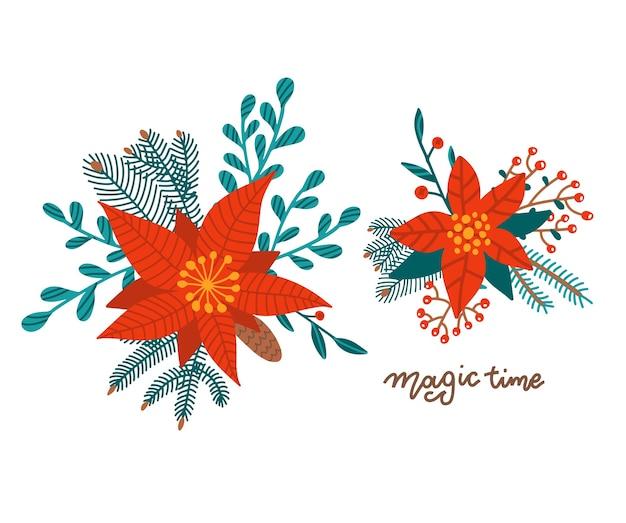 Zestaw bukietów bożonarodzeniowych ułożonych z czerwonych kwiatów poinsecji, gałązki jodły, agoniusza, eukaliptusa z nasionami, szmaragdowego parvifolii. wesołych świąt bożego narodzenia zieleni. zestaw stylów.