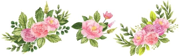 Zestaw bukietów kwiatów akwarela róż