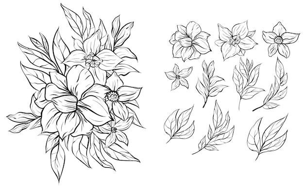 Zestaw bukietów kwiatów do rysowania linii