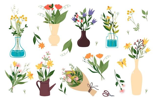 Zestaw bukietów kwiatów na białym tle
