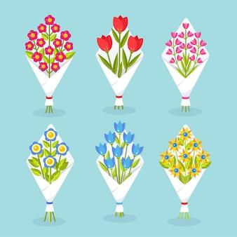 Zestaw bukietów lub bukietów kwitnących kwiatów