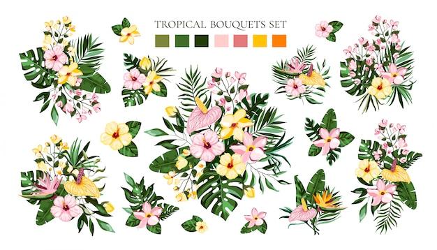 Zestaw bukiety tropikalnych kwiatów egzotycznych z frangipani hibiskusa calla zielonych liści palmowych monstera. zaproszenia ślubne z gałęzi kwiatowych zapisz datę