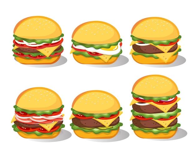 Zestaw burger fast food na białym tle. hamburger, cheeseburger, burger wołowy.