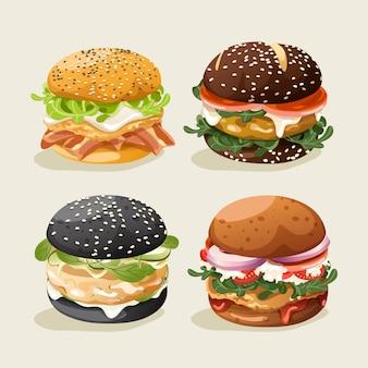 Zestaw burgerów: ilustracja