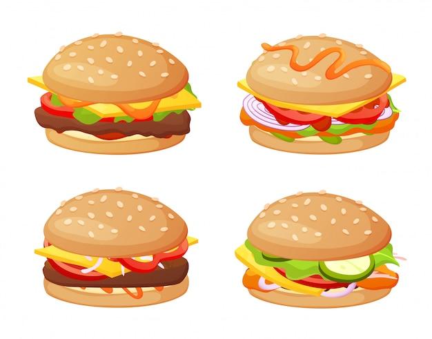 Zestaw burgerów z różnymi składnikami. kolekcja na białym tle burgera i kanapki. ładny ręcznie rysowane w kolorowym stylu