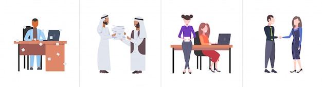 Zestaw businespeople koledzy ciężko pracujący proces mix wyścig przepracowani ludzie biznesu różne koncepcje kolekcja pełnej długości horyzontalnie