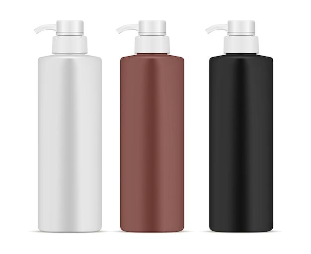 Zestaw butelek dozownika pompy. 3d produkt kosmetyczny can