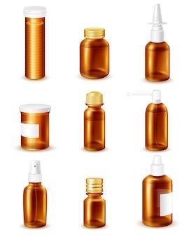 Zestaw butelek farmaceutycznych