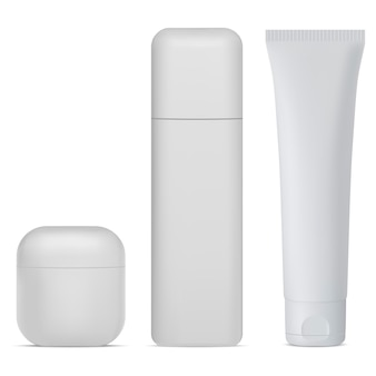 Zestaw butelek kosmetycznych. biały krem, pakiet balsamu