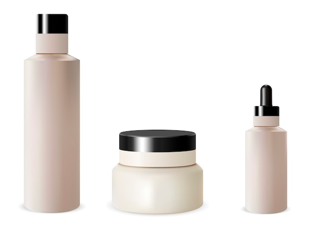 Zestaw butelek kosmetycznych. kremowy słoik, kroplomierz, szampon