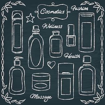 Zestaw butelek kosmetycznych tablica