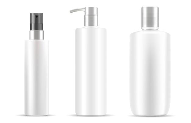 Zestaw butelek kosmetycznych w kolorze białym, czysty design