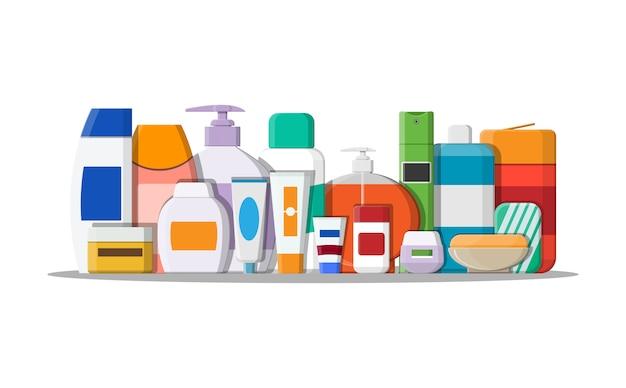 Zestaw butelek kosmetycznych w różnych kolorach.