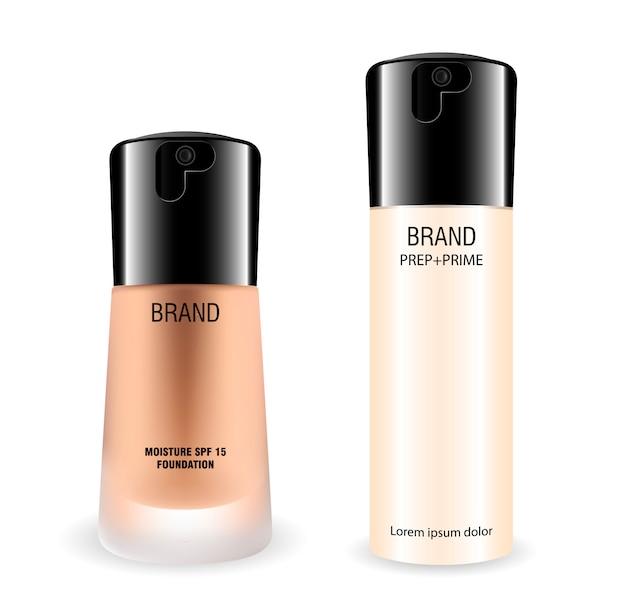 Zestaw butelek kosmetyków fundacji