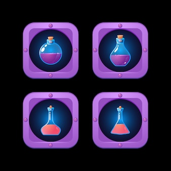Zestaw butelek mikstury w obramowaniu ramki fantasy dla elementów interfejsu gry