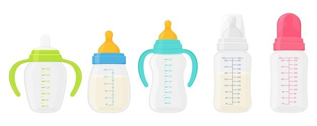 Zestaw butelek mleka dla niemowląt, na białym tle. kolorowe butelki do karmienia noworodka różnią się kształtem ze smoczkami do smoczka, kolorowymi plastikowymi uchwytami i podziałką do pomiaru objętości.