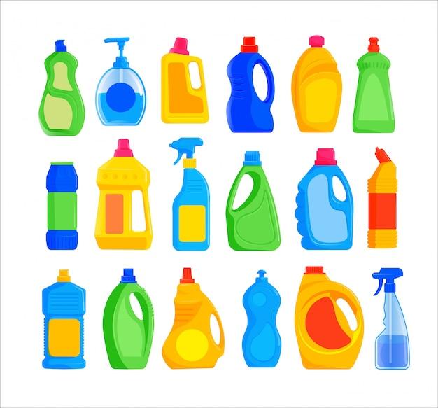 Zestaw butelek na detergent. kolekcja na białym tle puste plastikowe butelki detergentu. pojemnik na środek czyszczący w sprayu. wektor płynny produkt chemiczny do prac domowych