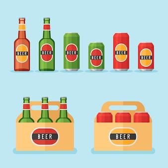 Zestaw butelek piwa, puszek i opakowań na białym tle. ilustracja urządzony.