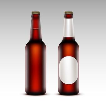 Zestaw butelek piwo ciemne bez białych etykiet