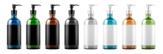 Zestaw butelek pompy z pustymi etykietami na białym tle