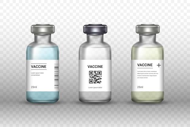 Zestaw butelek szczepionek medycznych na przezroczystym tle. szczepionka - przezroczyste szkło. ochrona przed koronawirusem i infekcją. realistyczna ilustracja.