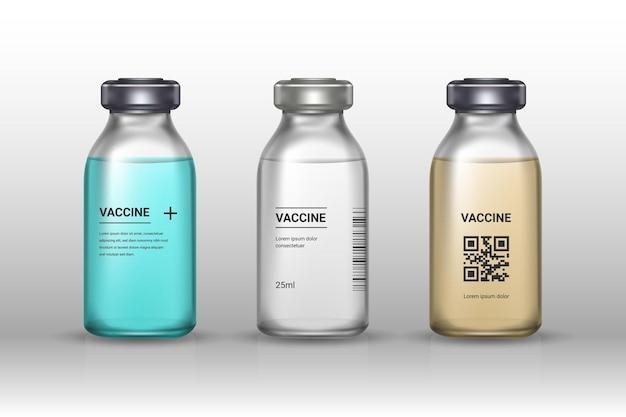 Zestaw butelek szczepionek medycznych na szarym tle. szczepionka - przezroczyste szkło. ochrona przed koronawirusem i infekcją. realistyczna ilustracja.