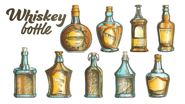 Zestaw butelek whisky kolor scotch.