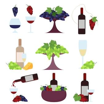 Zestaw butelek wina i kieliszków w połączeniu z zielonymi, czerwonymi winogronami i serem. wektor zestaw na białym tle.