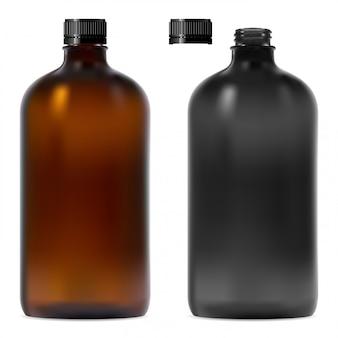 Zestaw butelek z brązowego, czarnego szkła.