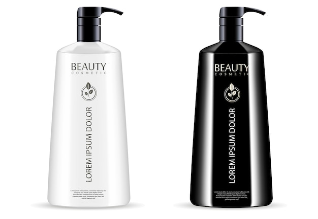 Zestaw butelek z czarnym białym dozownikiem kosmetycznym