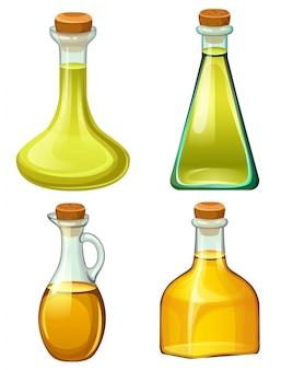Zestaw butelek z olejami roślinnymi.