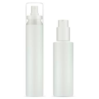 Zestaw butelek z rozpylaczem kosmetycznym i pompką dozującą