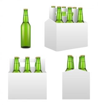 Zestaw butelka piwa, realistyczna ilustracja