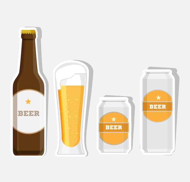 Zestaw butelki piwa, kubki i szklanki. zestaw ikon płaski.