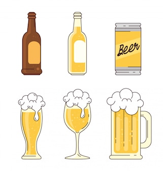 Zestaw, butelki, puszka, szkło, filiżanka, kufel piwa na białym tle