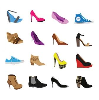 Zestaw butów na białym tle