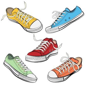 Zestaw butów sportowych lub trampek w różnych widokach.