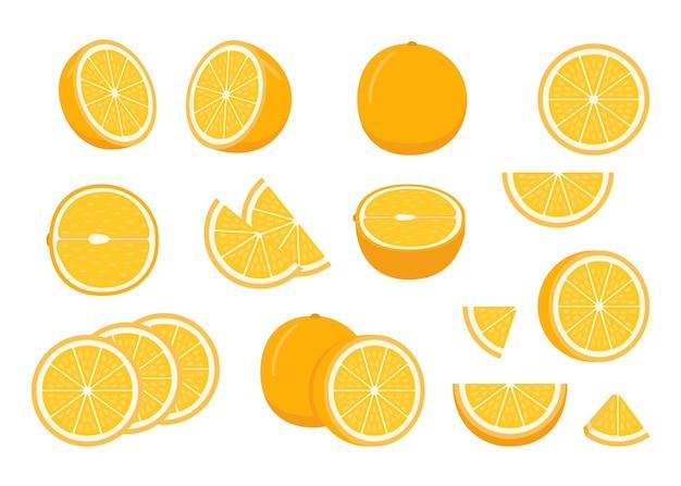 Zestaw Całej Dojrzałej Pomarańczy Premium Wektorów